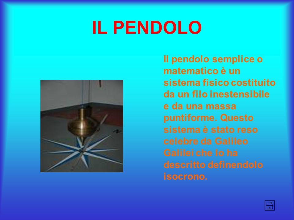 IL PENDOLO Il pendolo semplice o matematico è un sistema fisico costituito da un filo inestensibile e da una massa puntiforme. Questo sistema è stato