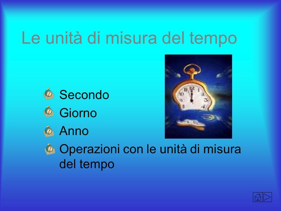 Le unità di misura del tempo Secondo Giorno Anno Operazioni con le unità di misura del tempo