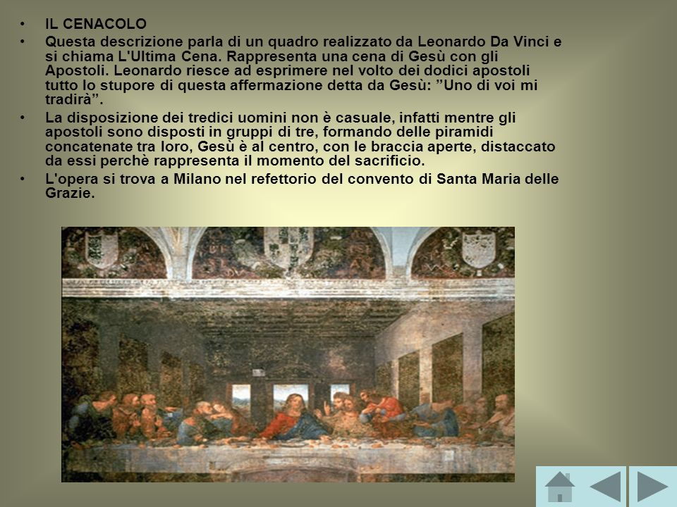 IL CENACOLO Questa descrizione parla di un quadro realizzato da Leonardo Da Vinci e si chiama L'Ultima Cena. Rappresenta una cena di Gesù con gli Apos