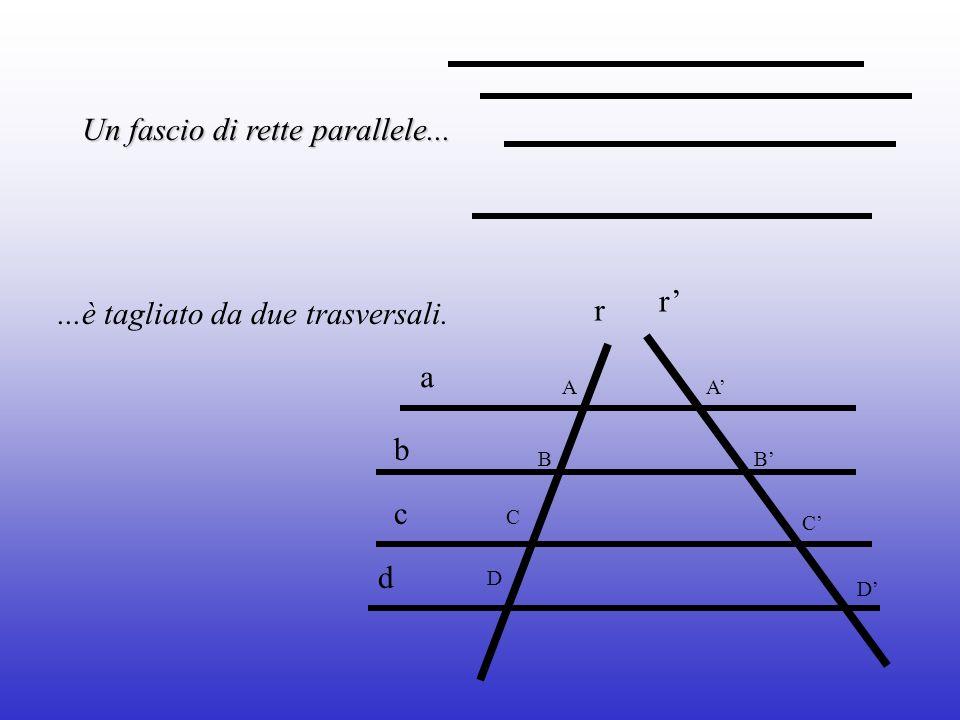 Un fascio di rette parallele......è tagliato da due trasversali. C A B C B A d c b a r r D D