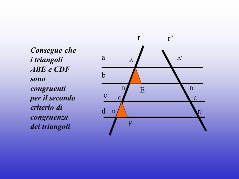 a b c d r r A B C D A B C D E F Consegue che i triangoli ABE e CDF sono congruenti per il secondo criterio di congruenza dei triangoli