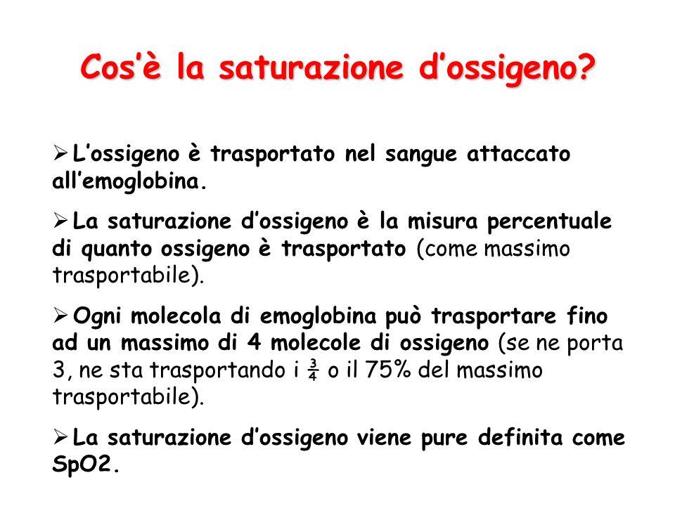 Cosè la saturazione dossigeno? Lossigeno è trasportato nel sangue attaccato allemoglobina. La saturazione dossigeno è la misura percentuale di quanto