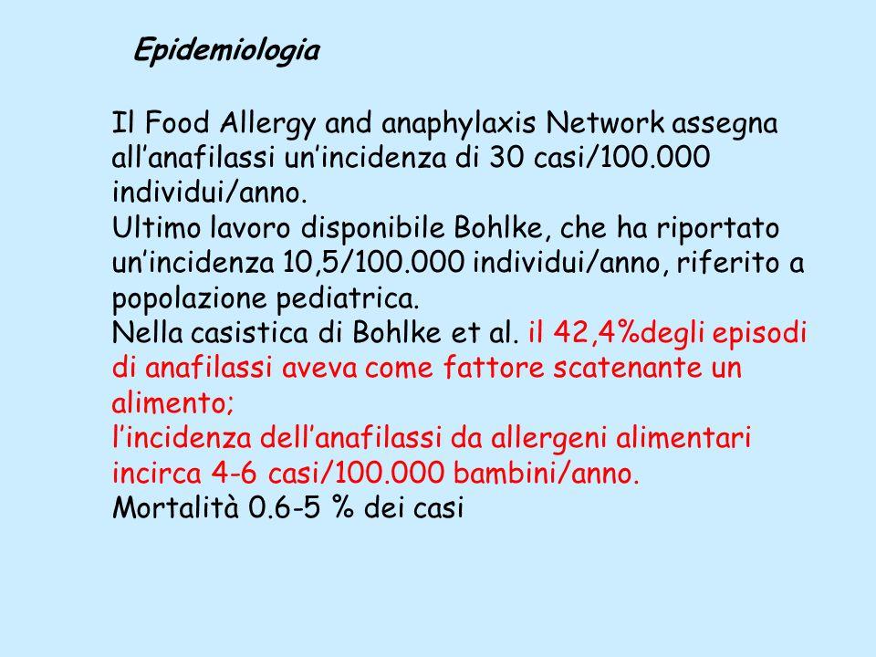 Il Food Allergy and anaphylaxis Network assegna allanafilassi unincidenza di 30 casi/100.000 individui/anno. Ultimo lavoro disponibile Bohlke, che ha