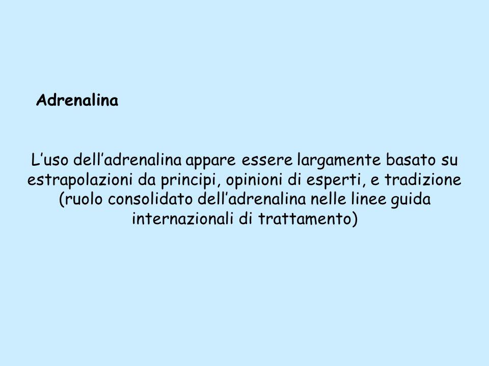 Luso delladrenalina appare essere largamente basato su estrapolazioni da principi, opinioni di esperti, e tradizione (ruolo consolidato delladrenalina
