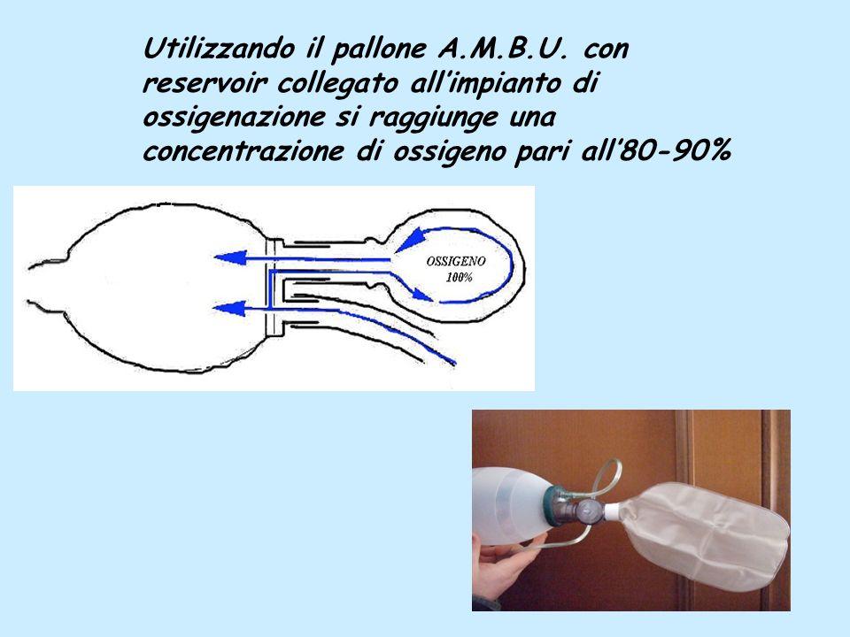 Utilizzando il pallone A.M.B.U. con reservoir collegato allimpianto di ossigenazione si raggiunge una concentrazione di ossigeno pari all80-90%