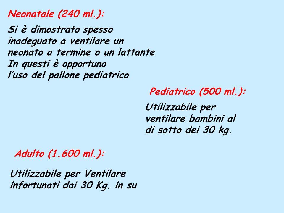 Si è dimostrato spesso inadeguato a ventilare un neonato a termine o un lattante In questi è opportuno luso del pallone pediatrico Neonatale (240 ml.)