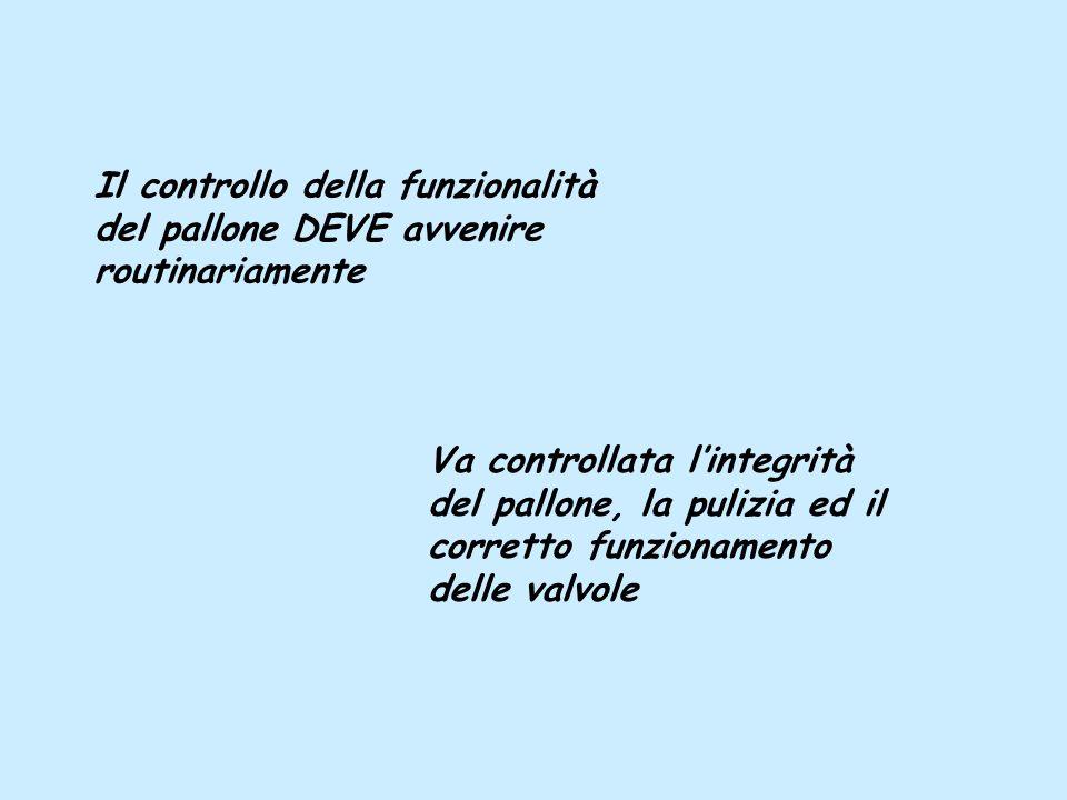 Il controllo della funzionalità del pallone DEVE avvenire routinariamente Va controllata lintegrità del pallone, la pulizia ed il corretto funzionamen