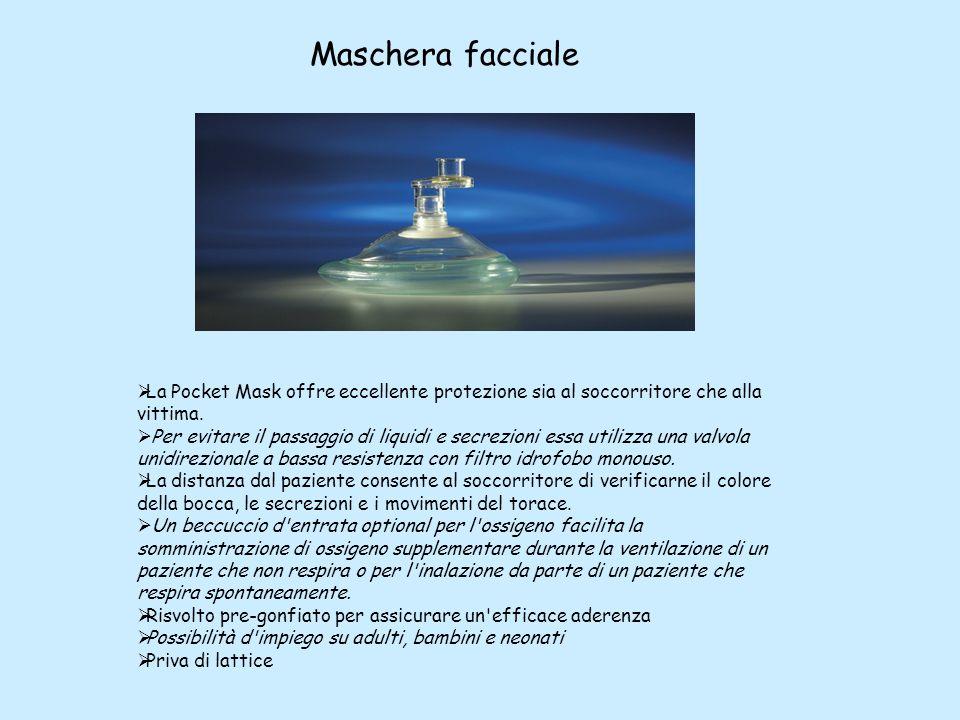 La Pocket Mask offre eccellente protezione sia al soccorritore che alla vittima. Per evitare il passaggio di liquidi e secrezioni essa utilizza una va