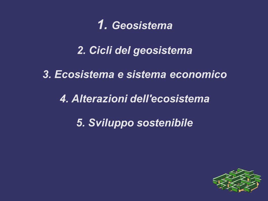 Il sistema Terra e le società umane 1. Geosistema 2. Cicli del geosistema 3. Ecosistema e sistema economico 4. Alterazioni dell'ecosistema 5. Sviluppo