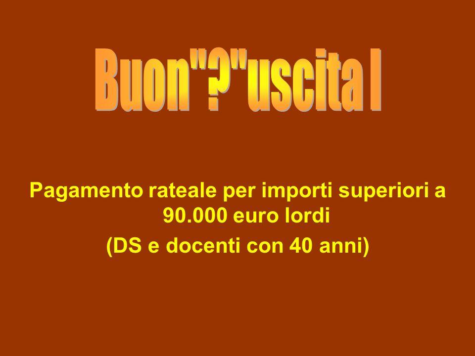 Pagamento rateale per importi superiori a 90.000 euro lordi (DS e docenti con 40 anni)