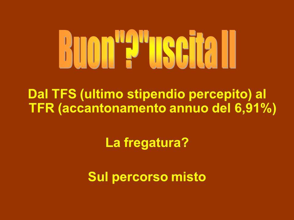Dal TFS (ultimo stipendio percepito) al TFR (accantonamento annuo del 6,91%) La fregatura.