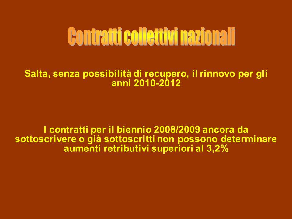 Salta, senza possibilità di recupero, il rinnovo per gli anni 2010-2012 I contratti per il biennio 2008/2009 ancora da sottoscrivere o già sottoscritt