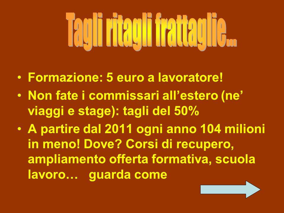 Formazione: 5 euro a lavoratore! Non fate i commissari allestero (ne viaggi e stage): tagli del 50% A partire dal 2011 ogni anno 104 milioni in meno!