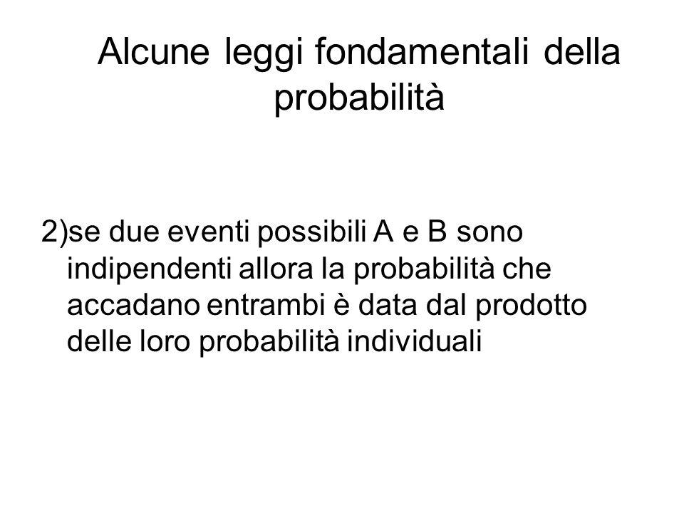Alcune leggi fondamentali della probabilità 2)se due eventi possibili A e B sono indipendenti allora la probabilità che accadano entrambi è data dal p