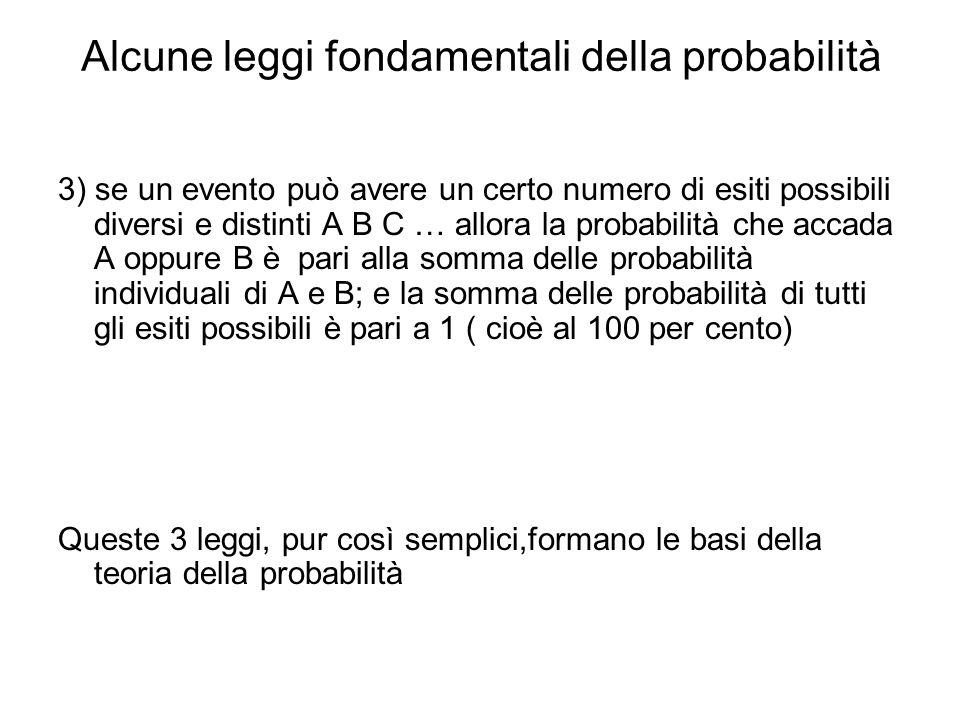 Alcune leggi fondamentali della probabilità 3) se un evento può avere un certo numero di esiti possibili diversi e distinti A B C … allora la probabil