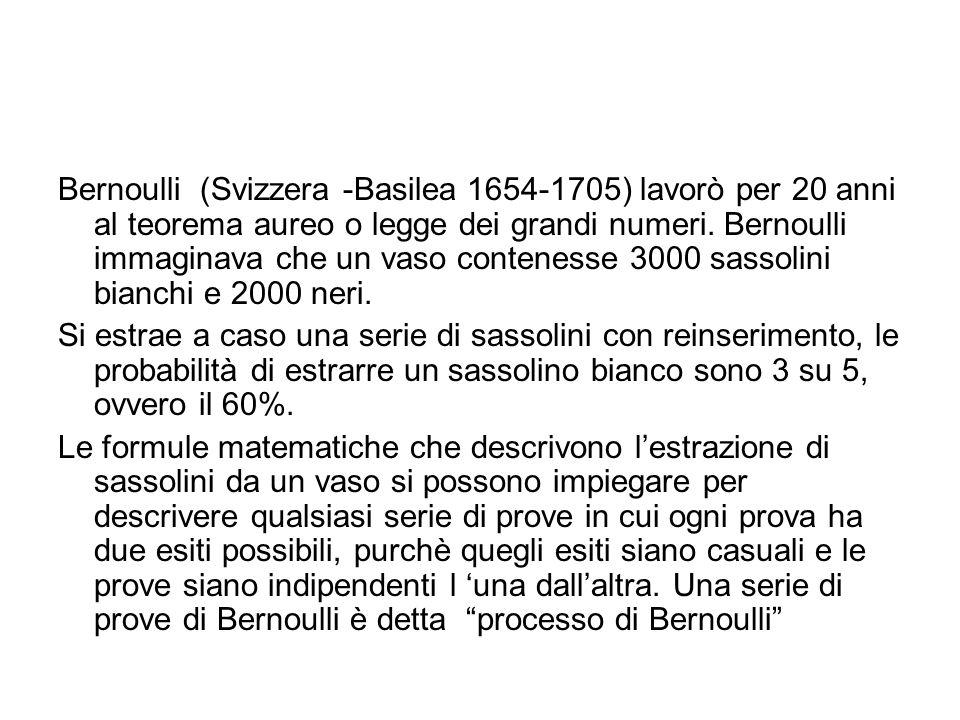 Bernoulli (Svizzera -Basilea 1654-1705) lavorò per 20 anni al teorema aureo o legge dei grandi numeri. Bernoulli immaginava che un vaso contenesse 300