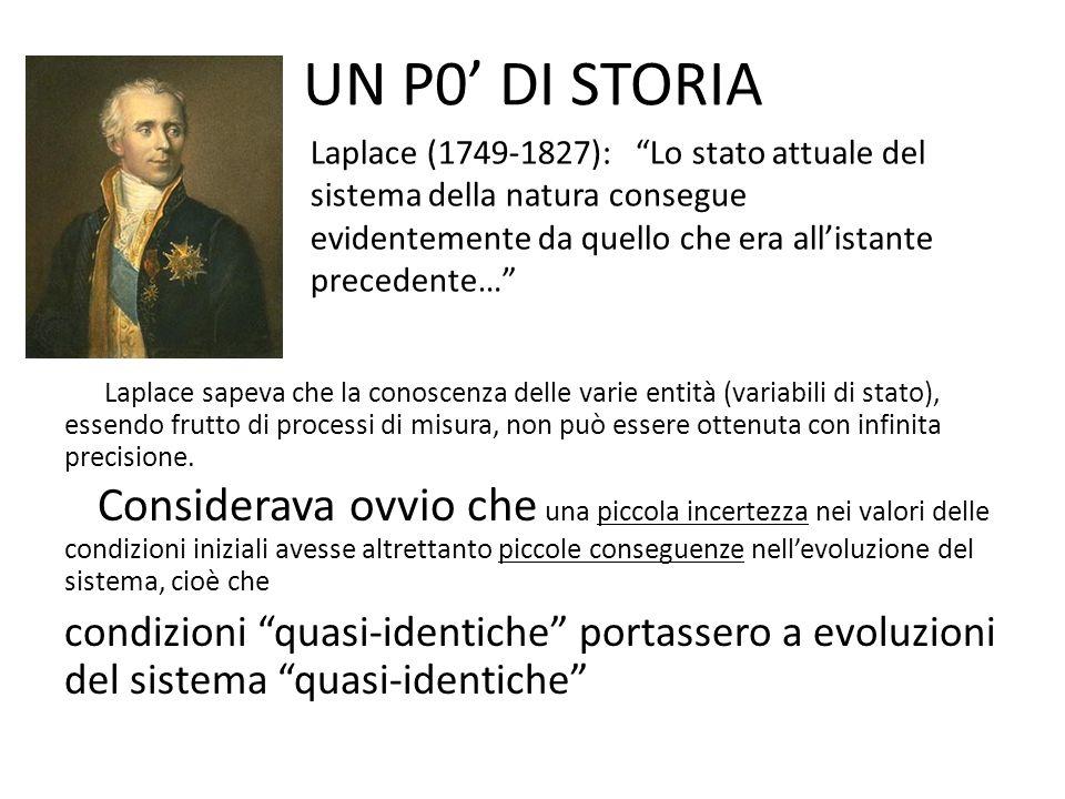 UN P0 DI STORIA Laplace sapeva che la conoscenza delle varie entità (variabili di stato), essendo frutto di processi di misura, non può essere ottenuta con infinita precisione.