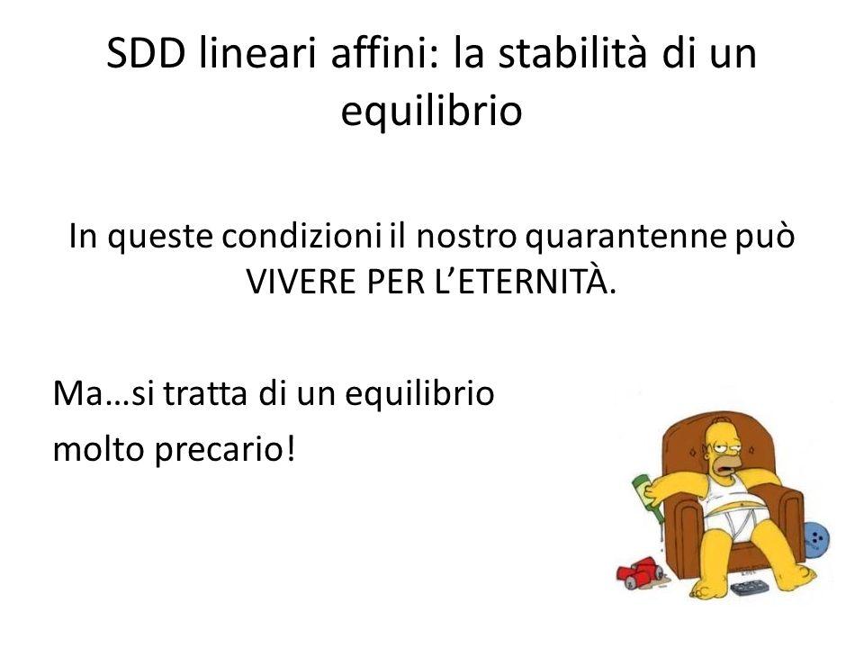 SDD lineari affini: la stabilità di un equilibrio In queste condizioni il nostro quarantenne può VIVERE PER LETERNITÀ. Ma…si tratta di un equilibrio m