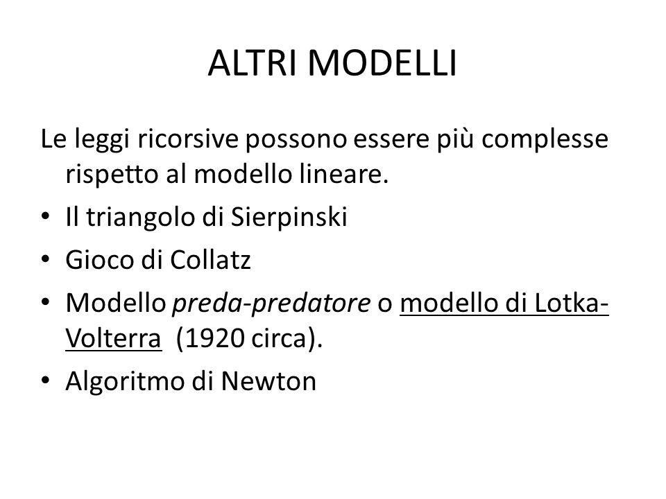 ALTRI MODELLI Le leggi ricorsive possono essere più complesse rispetto al modello lineare. Il triangolo di Sierpinski Gioco di Collatz Modello preda-p