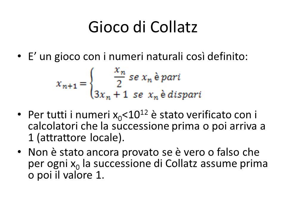 Gioco di Collatz E un gioco con i numeri naturali così definito: Per tutti i numeri x 0 <10 12 è stato verificato con i calcolatori che la successione prima o poi arriva a 1 (attrattore locale).