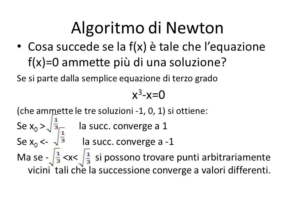 Algoritmo di Newton Cosa succede se la f(x) è tale che lequazione f(x)=0 ammette più di una soluzione? Se si parte dalla semplice equazione di terzo g