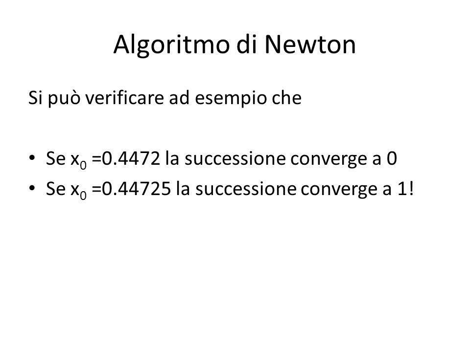 Algoritmo di Newton Si può verificare ad esempio che Se x 0 =0.4472 la successione converge a 0 Se x 0 =0.44725 la successione converge a 1!
