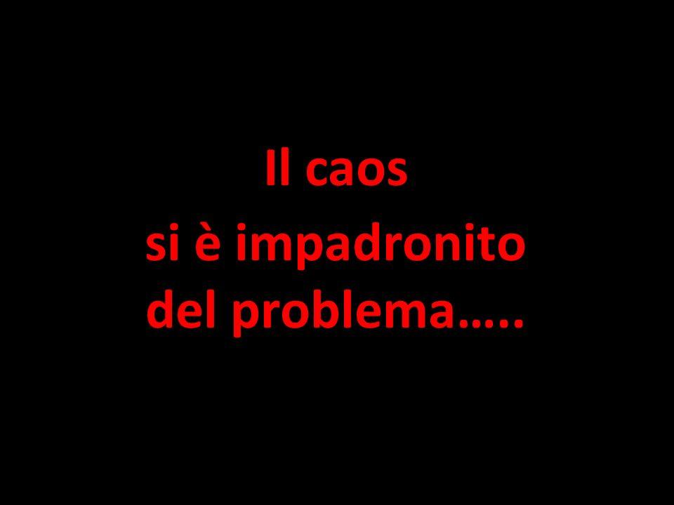 Il caos si è impadronito del problema…..