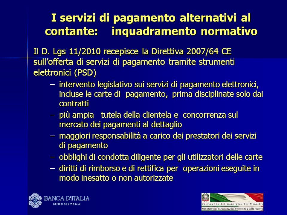 I servizi di pagamento alternativi al contante: inquadramento normativo Il D. Lgs 11/2010 recepisce la Direttiva 2007/64 CE sullofferta di servizi di