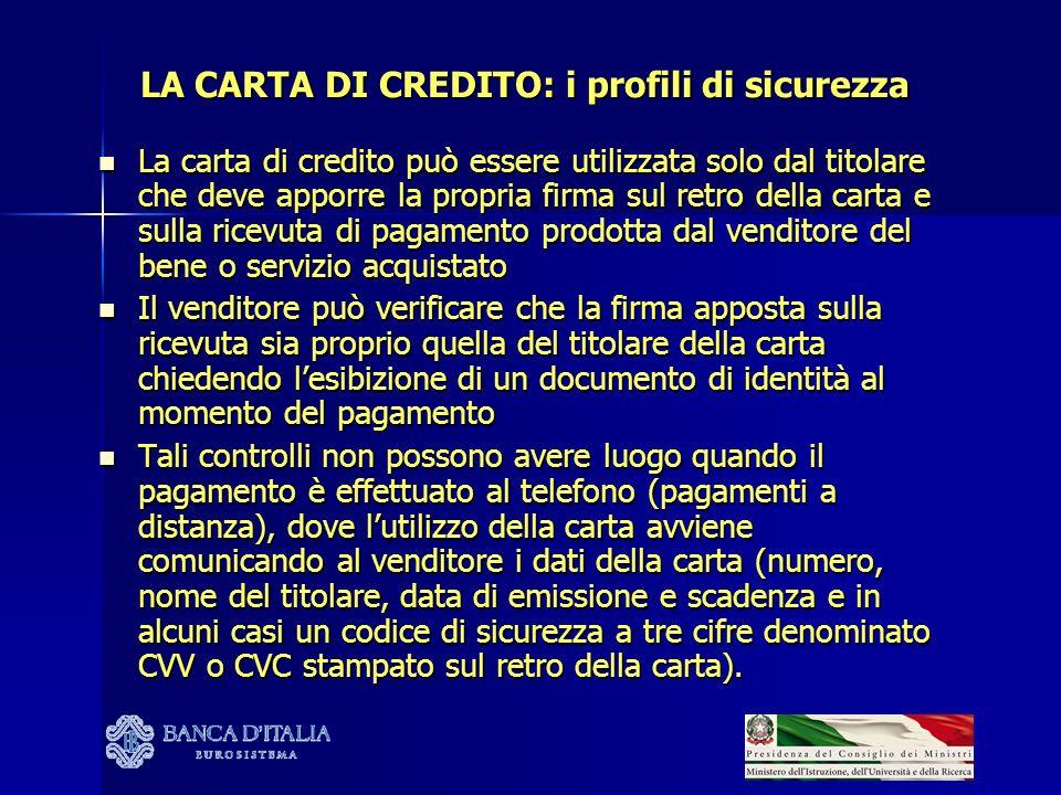LA CARTA DI CREDITO: i profili di sicurezza La carta di credito può essere utilizzata solo dal titolare che deve apporre la propria firma sul retro de