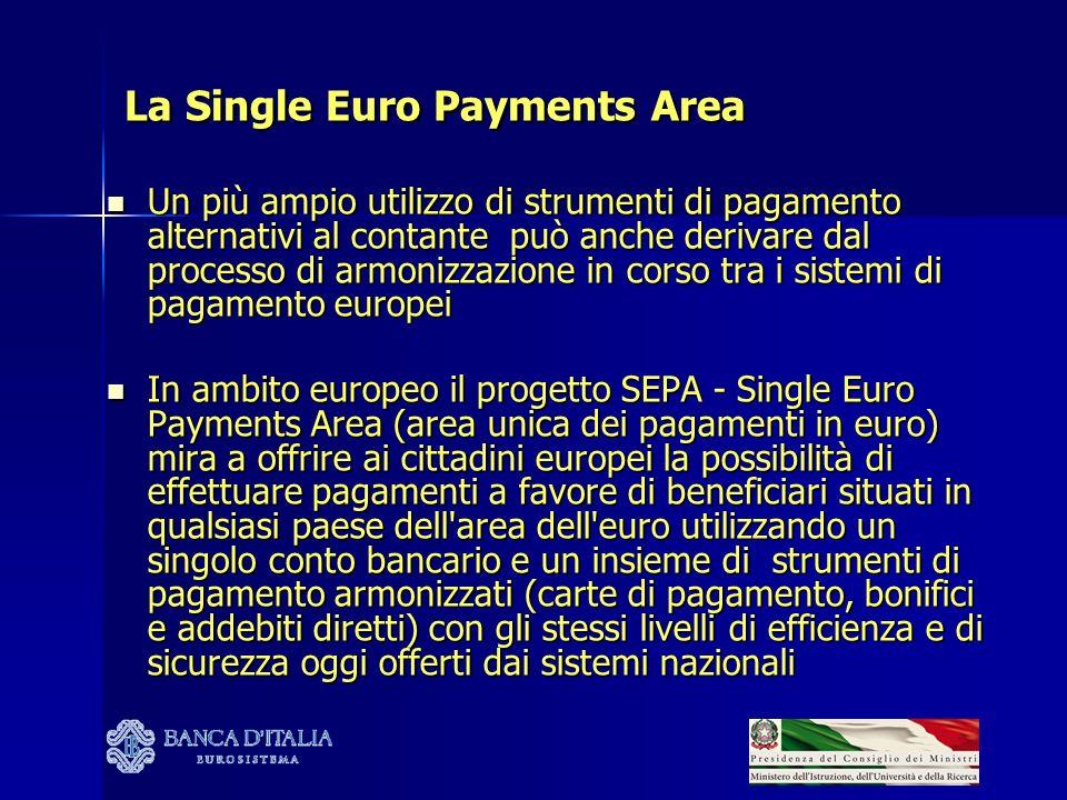 La Single Euro Payments Area Un più ampio utilizzo di strumenti di pagamento alternativi al contante può anche derivare dal processo di armonizzazione