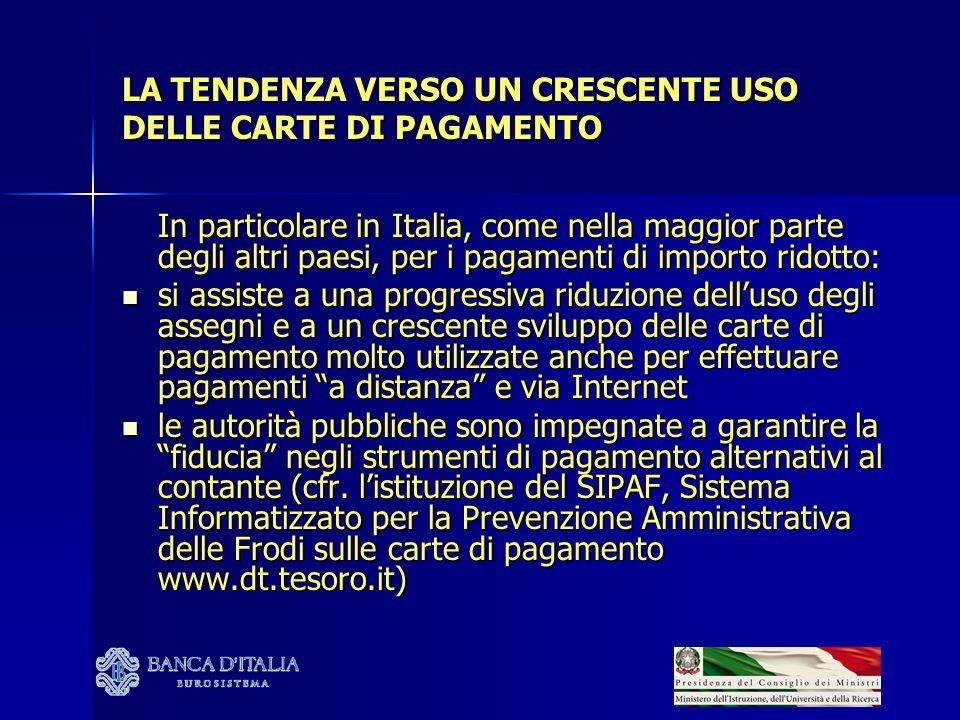 LA TENDENZA VERSO UN CRESCENTE USO DELLE CARTE DI PAGAMENTO In particolare in Italia, come nella maggior parte degli altri paesi, per i pagamenti di i