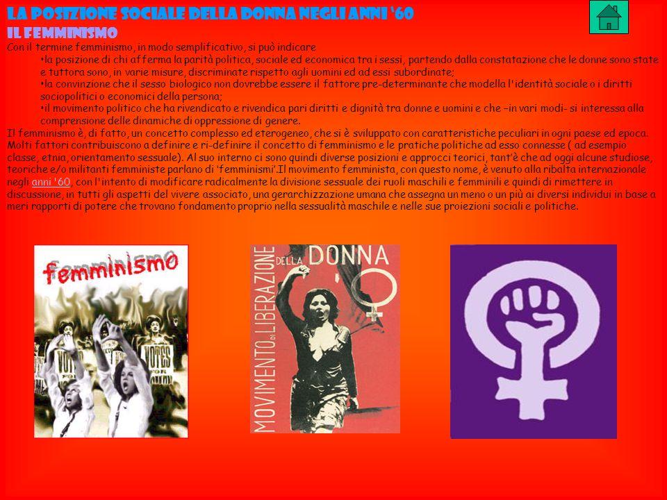 LA POSIZIONE SOCIALE DELLA DONNA NEGLI ANNI 60 IL FEMMINISMO Con il termine femminismo, in modo semplificativo, si può indicare la posizione di chi af