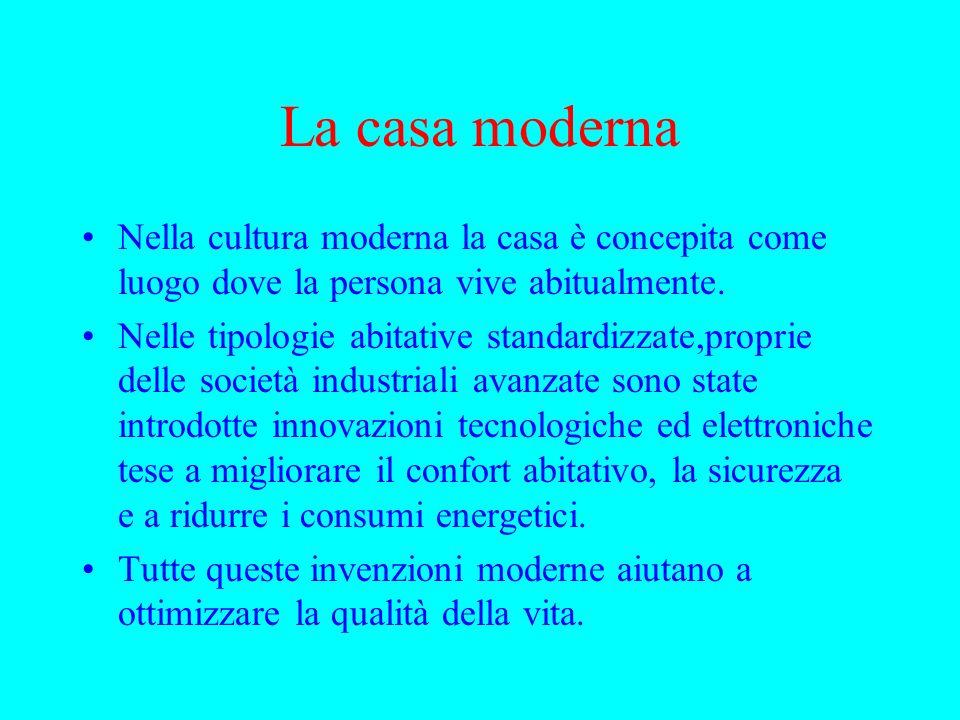 La casa moderna Nella cultura moderna la casa è concepita come luogo dove la persona vive abitualmente. Nelle tipologie abitative standardizzate,propr