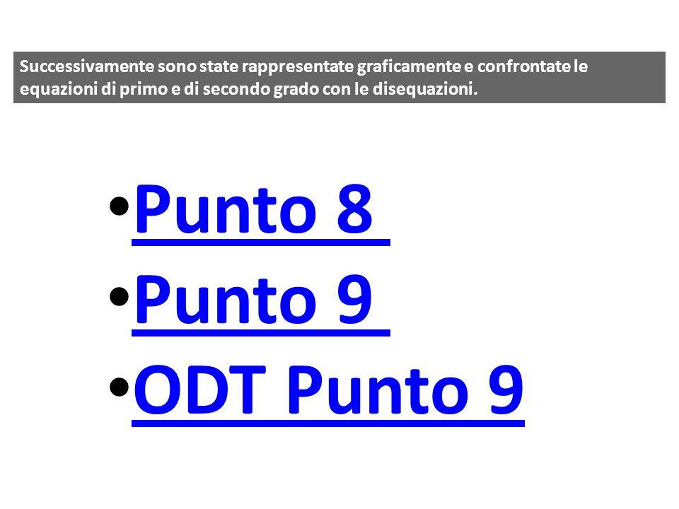 Successivamente sono state rappresentate graficamente e confrontate le equazioni di primo e di secondo grado con le disequazioni. Punto 8 Punto 9 ODT