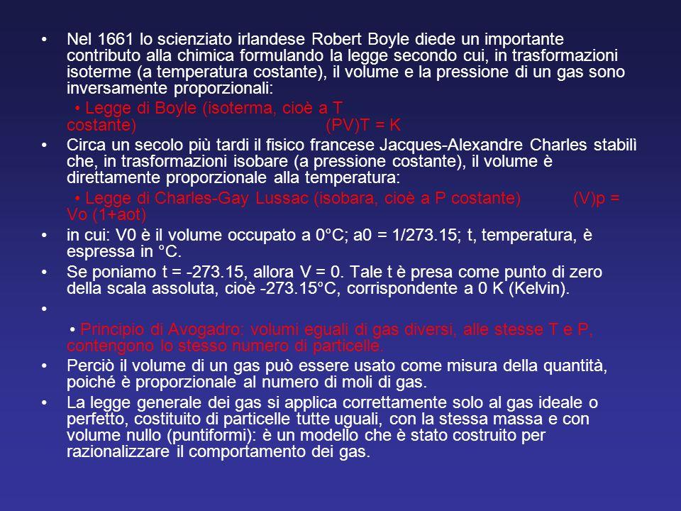 Nel 1661 lo scienziato irlandese Robert Boyle diede un importante contributo alla chimica formulando la legge secondo cui, in trasformazioni isoterme
