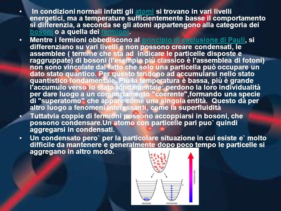 In condizioni normali infatti gli atomi si trovano in vari livelli energetici, ma a temperature sufficientemente basse il comportamento si differenzia