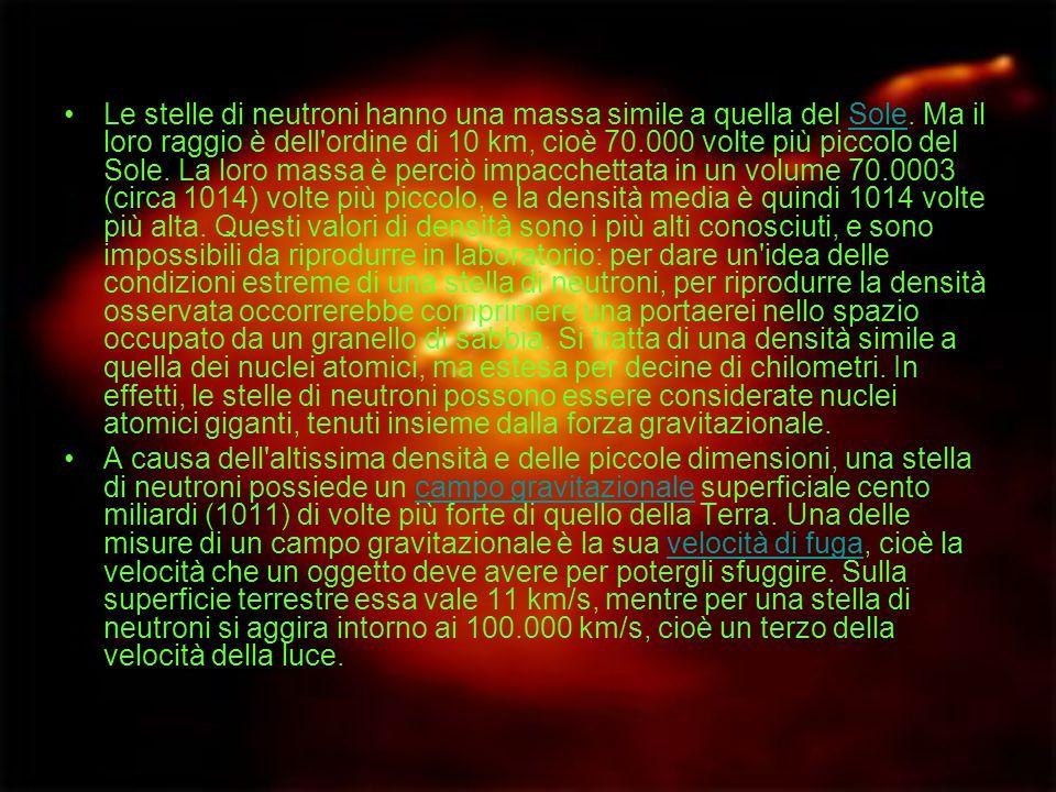 Le stelle di neutroni hanno una massa simile a quella del Sole. Ma il loro raggio è dell'ordine di 10 km, cioè 70.000 volte più piccolo del Sole. La l