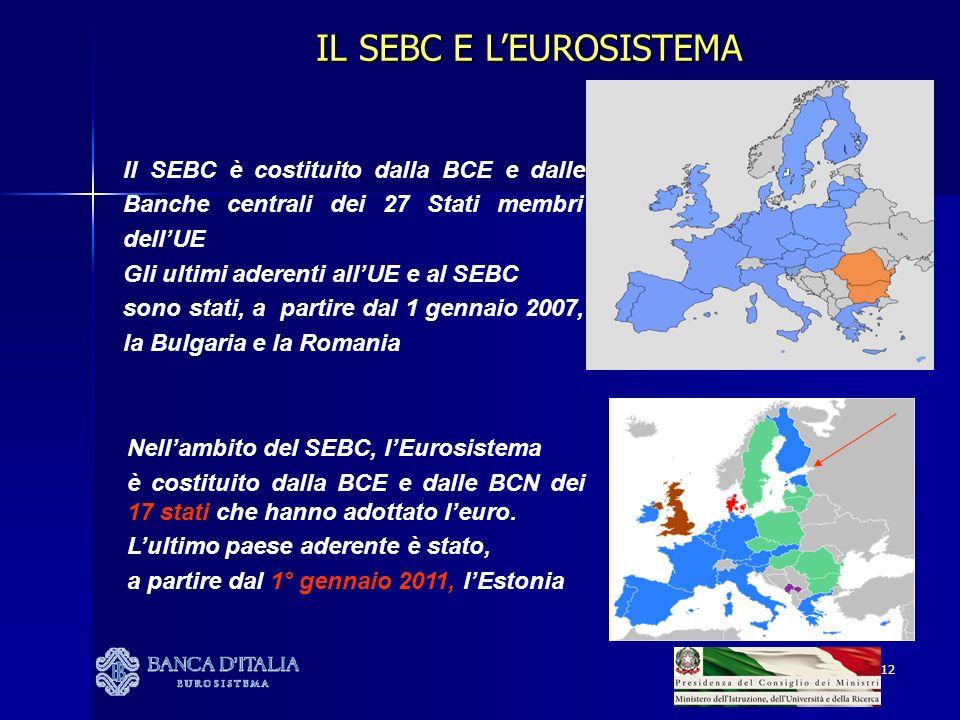 12 Il SEBC è costituito dalla BCE e dalle Banche centrali dei 27 Stati membri dellUE Gli ultimi aderenti allUE e al SEBC sono stati, a partire dal 1 g