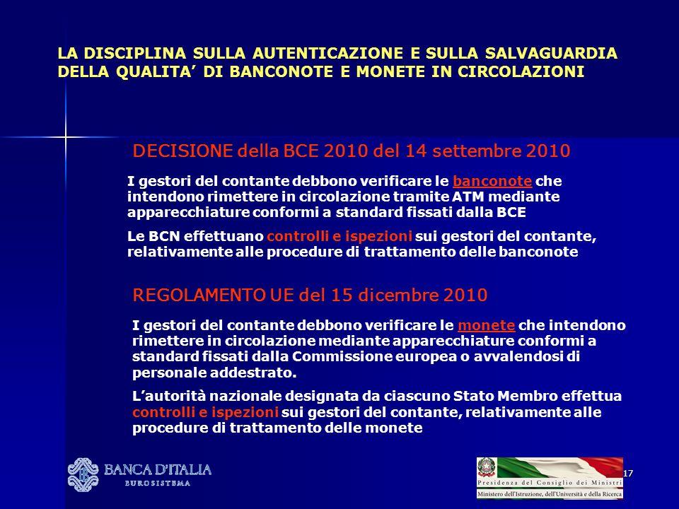 17 LA DISCIPLINA SULLA AUTENTICAZIONE E SULLA SALVAGUARDIA DELLA QUALITA DI BANCONOTE E MONETE IN CIRCOLAZIONI DECISIONE della BCE 2010 del 14 settemb