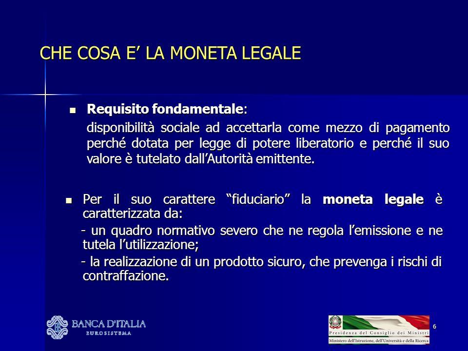 27 LA DOMANDA DI CONTANTE: ITALIA vs EUROSISTEMA