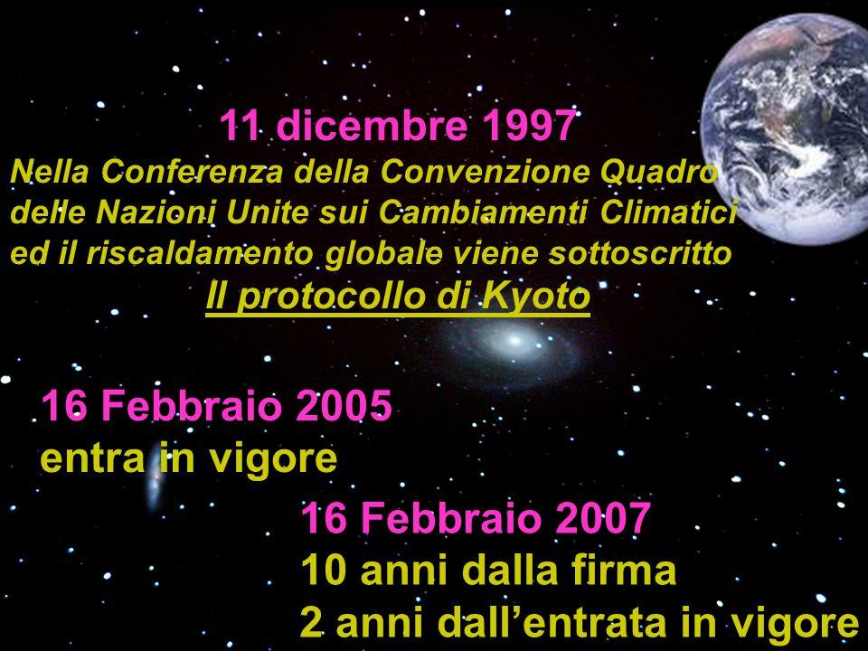 16 Febbraio 2005 entra in vigore 16 Febbraio 2007 10 anni dalla firma 2 anni dallentrata in vigore 11 dicembre 1997 Nella Conferenza della Convenzione Quadro delle Nazioni Unite sui Cambiamenti Climatici ed il riscaldamento globale viene sottoscritto Il protocollo di Kyoto
