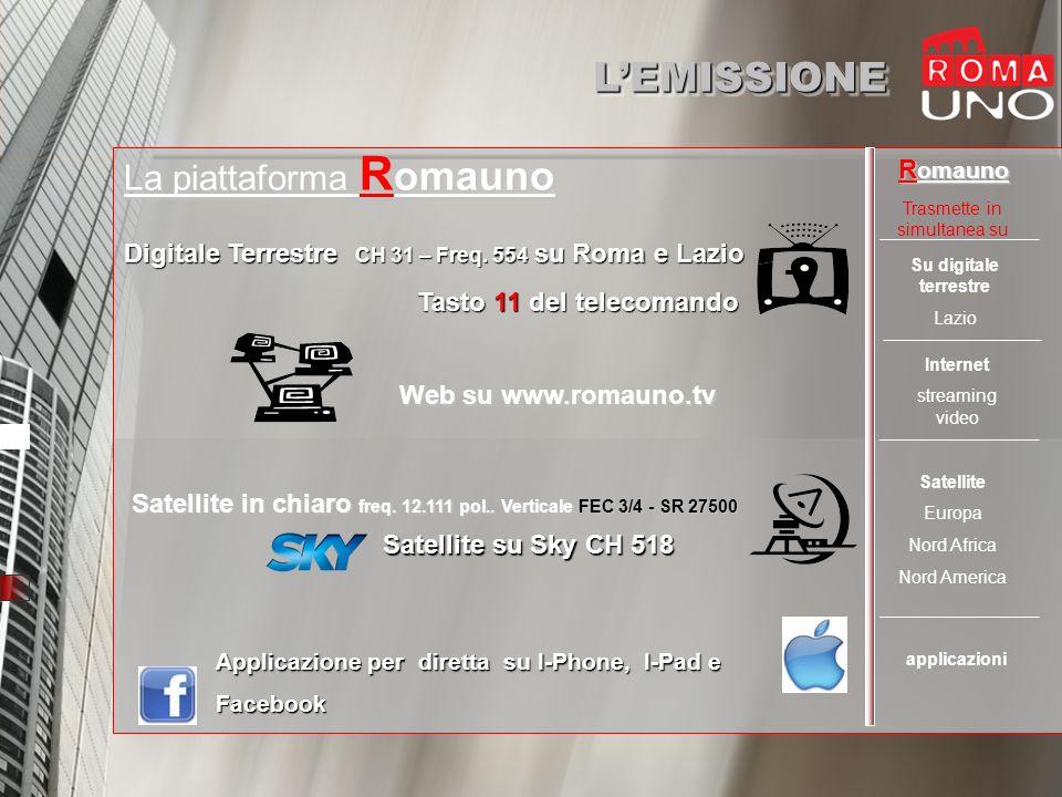LEMISSIONELEMISSIONE La piattaforma R omauno Digitale Terrestre CH 31 – Freq.