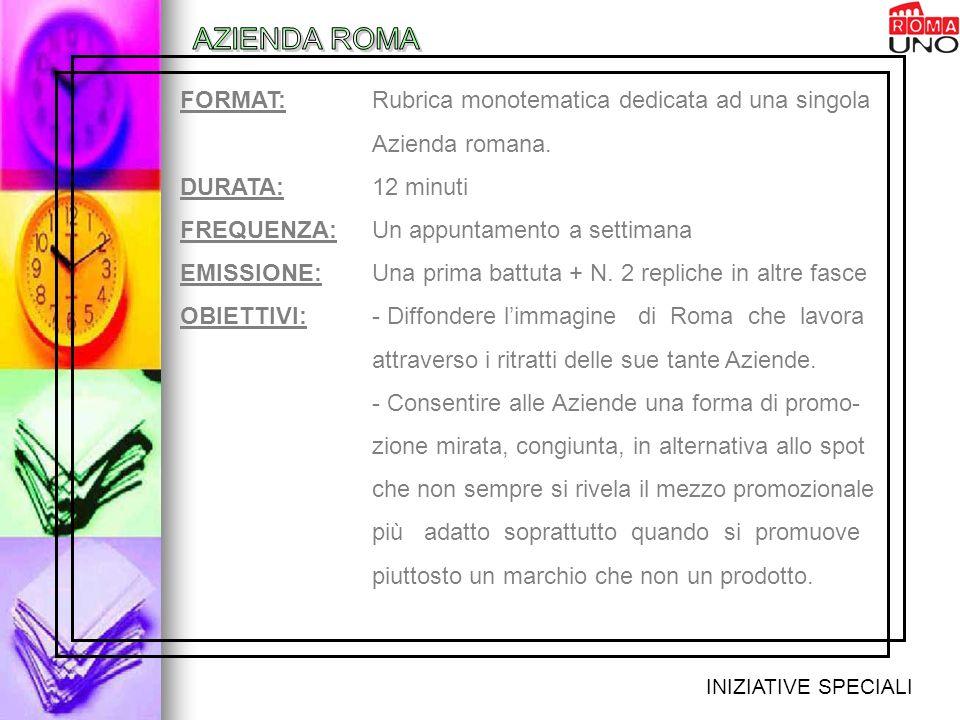 INIZIATIVE SPECIALI FORMAT: Rubrica monotematica dedicata ad una singola Azienda romana.
