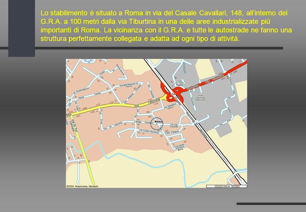 Lo stabilimento è situato a Roma in via del Casale Cavallari, 148, allinterno del G.R.A. a 100 metri dalla via Tiburtina in una delle aree industriali
