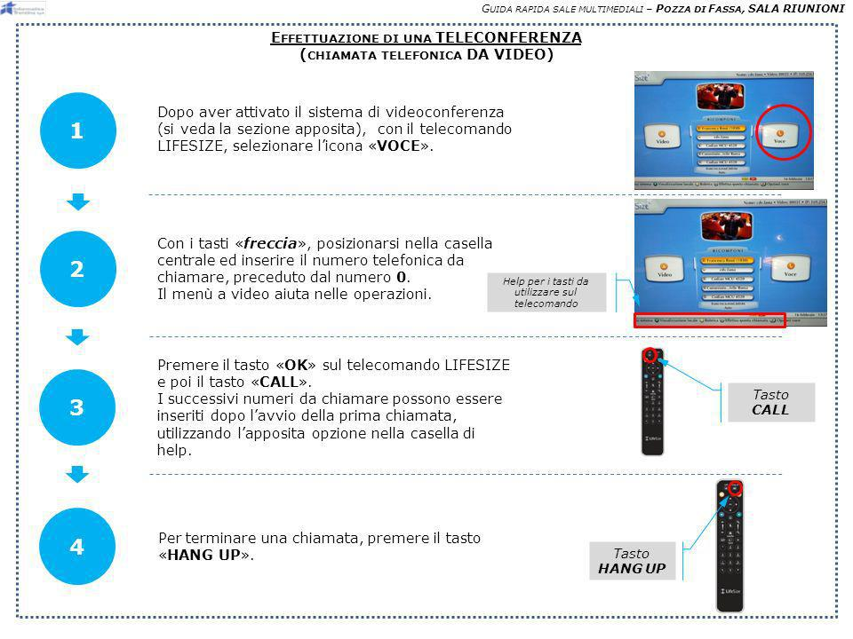 G UIDA RAPIDA SALE MULTIMEDIALI – P OZZA DI F ASSA, SALA RIUNIONI E FFETTUAZIONE DI UNA TELECONFERENZA ( CHIAMATA TELEFONICA DA VIDEO) Dopo aver attivato il sistema di videoconferenza (si veda la sezione apposita), con il telecomando LIFESIZE, selezionare licona «VOCE».