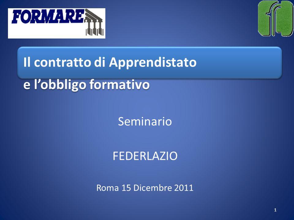 Il contratto di Apprendistato e lobbligo formativo Seminario FEDERLAZIO Roma 15 Dicembre 2011 1