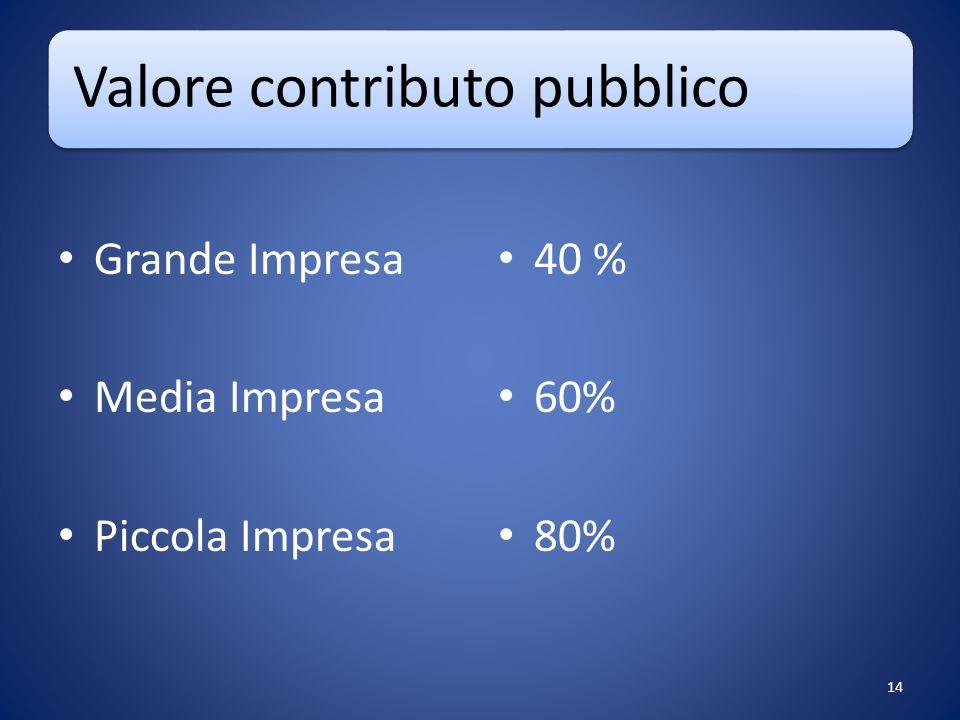 Valore contributo pubblico Grande Impresa Media Impresa Piccola Impresa 40 % 60% 80% 14