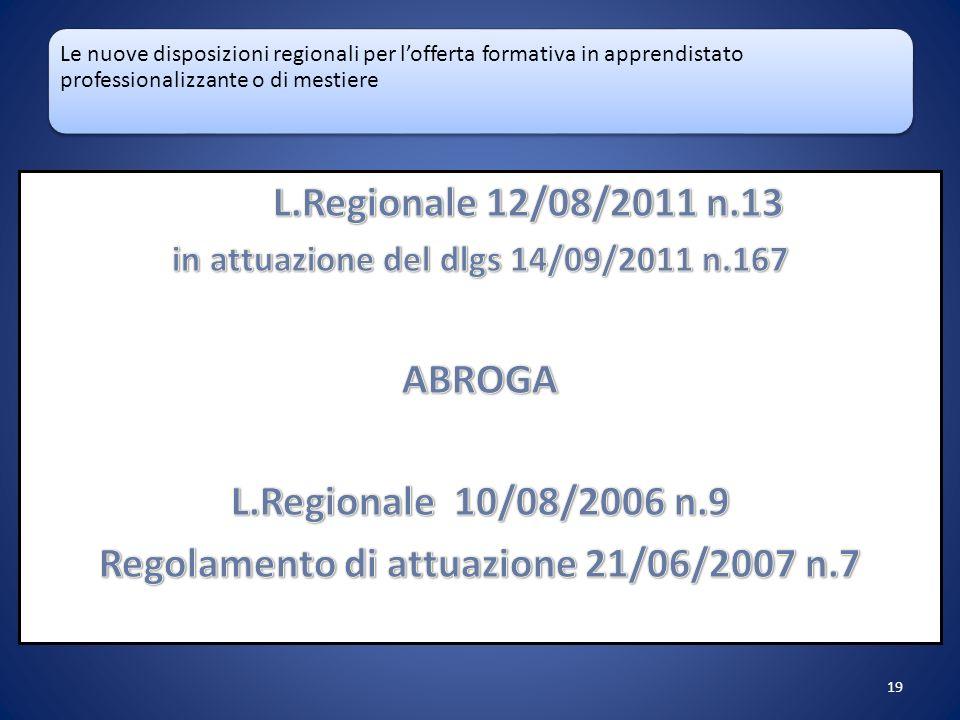 Le nuove disposizioni regionali per lofferta formativa in apprendistato professionalizzante o di mestiere 19
