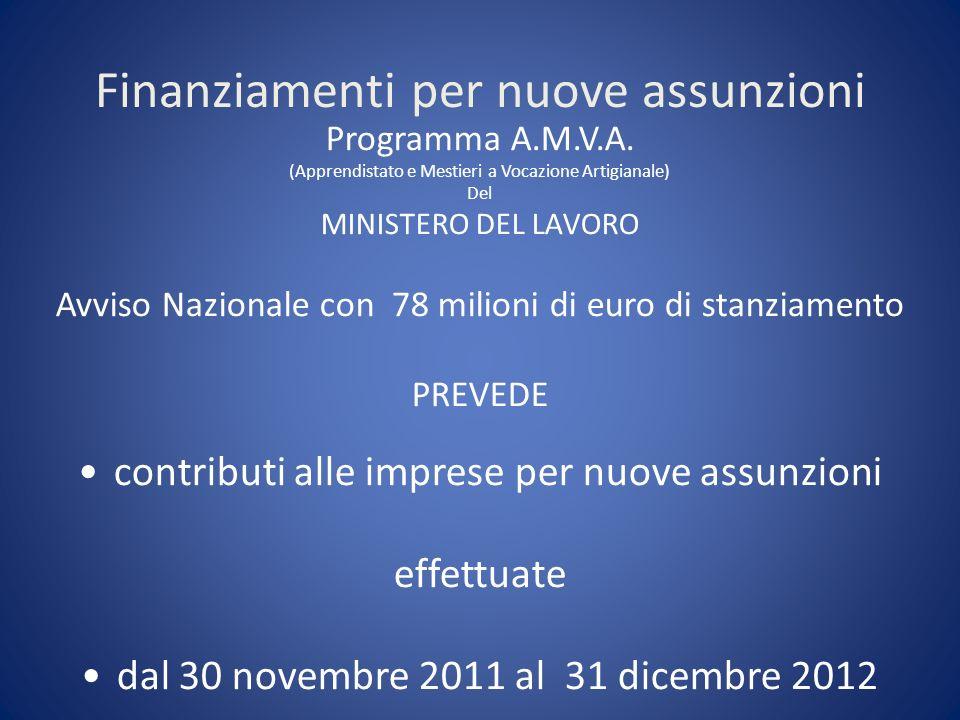 Finanziamenti per nuove assunzioni Programma A.M.V.A.