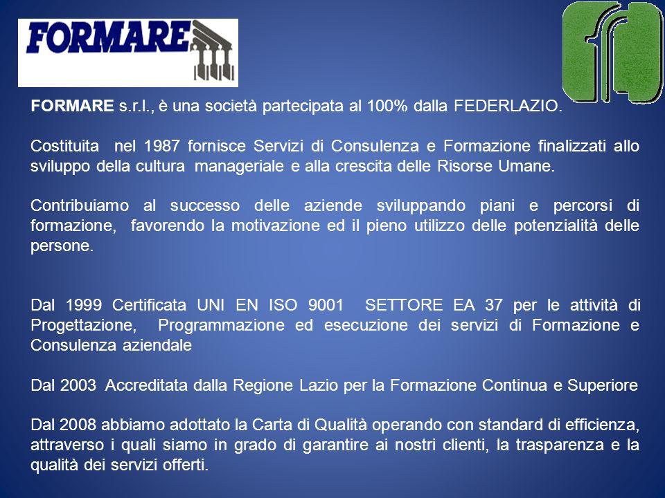 FORMARE s.r.l., è una società partecipata al 100% dalla FEDERLAZIO.